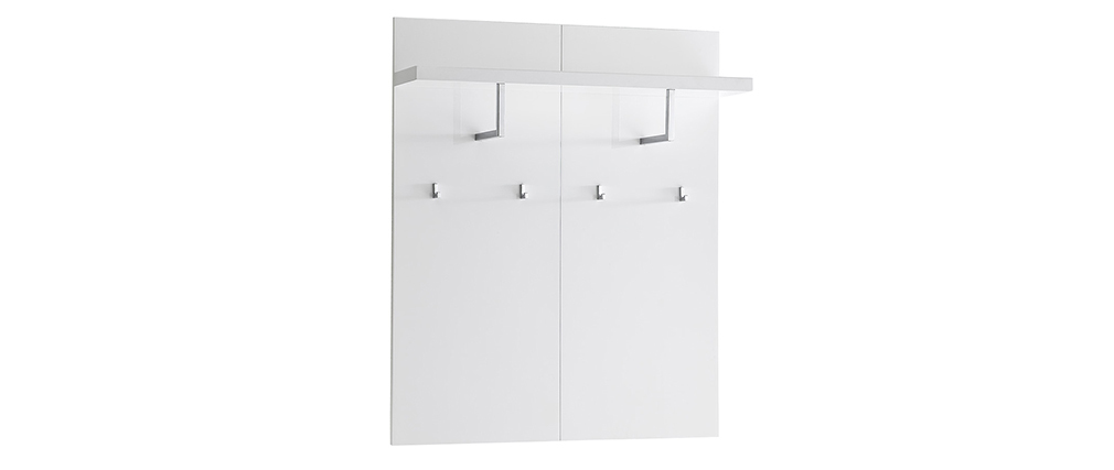 Mueble de entrada blanco lacado con banco 2 cajones y perchero WELCOME