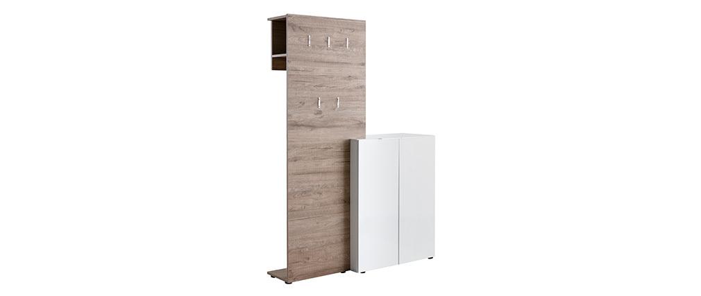 Mueble de entrada madera y blanco lacado con armario y estantería perchero HALL
