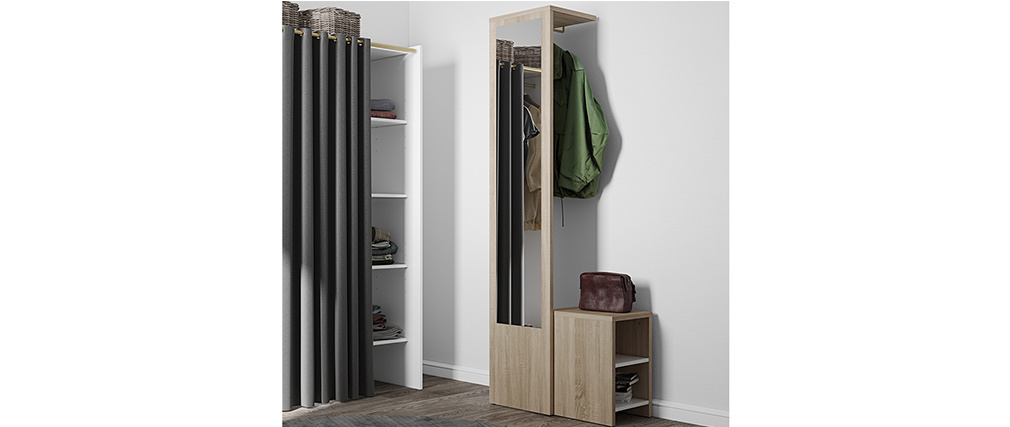 Mueble de entrada modulable con perchero, espejo y estanterías madera OLLY