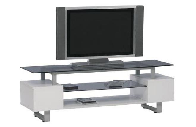 Mueble de tv lacado blanco y de dise o telma miliboo for Mueble tv lacado blanco