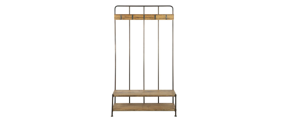 Mueble recibidor con banco y perchero madera y metal GIRO