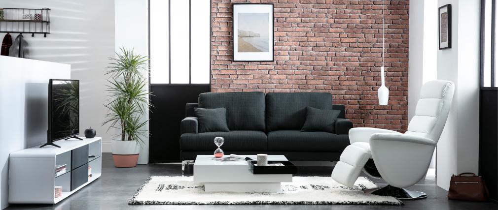 Mueble TV blanco y cajones antracita DISCI