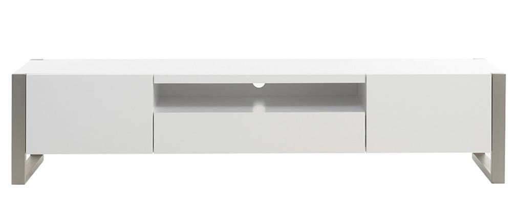 Mueble TV con almacenaje blanco lacado y metal MAGNA