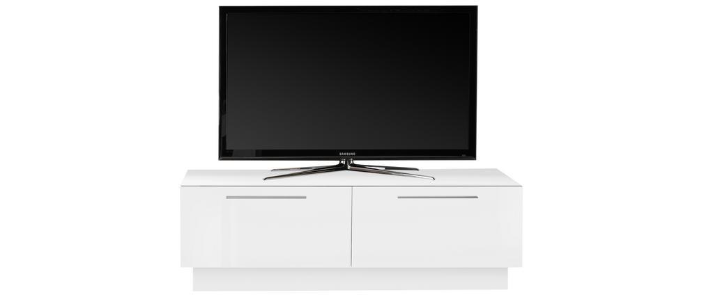 Mueble TV con cajón de almacenaje blanco brillante L138 cm ETERNEL