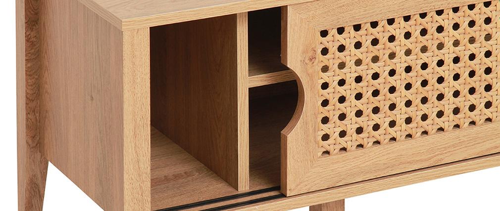 Mueble TV  con puertas correderas madera y ratán sintético PACHO