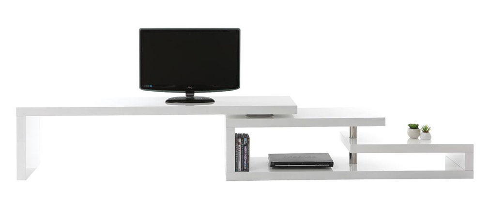 Mueble TV de diseño lacado blanco giratorio MAX V2