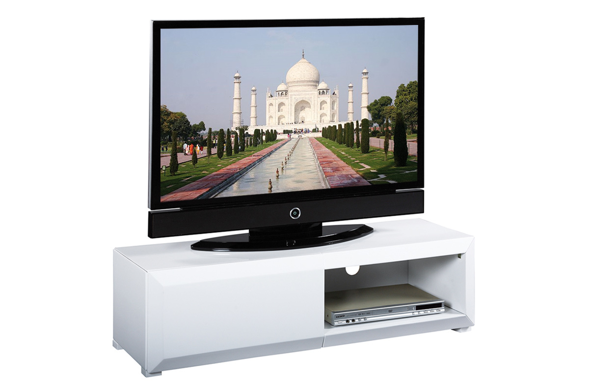 Mueble tv de dise o lacado blanco tia miliboo for Mueble tv lacado