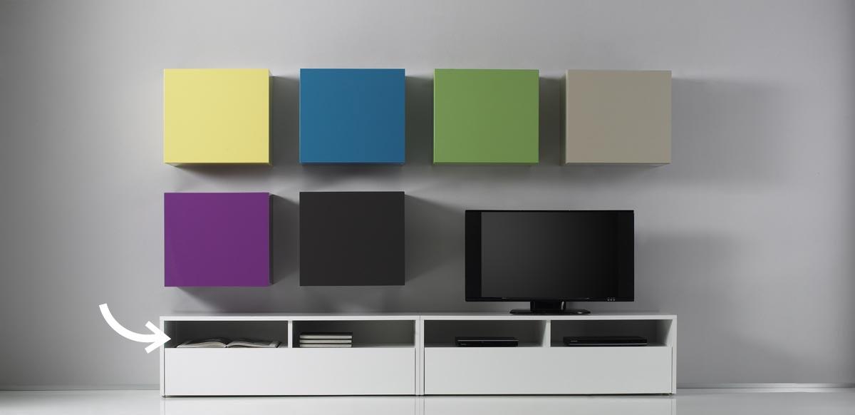 Mueble tv de dise o lacado colored blanco miliboo for Mueble tv lacado blanco