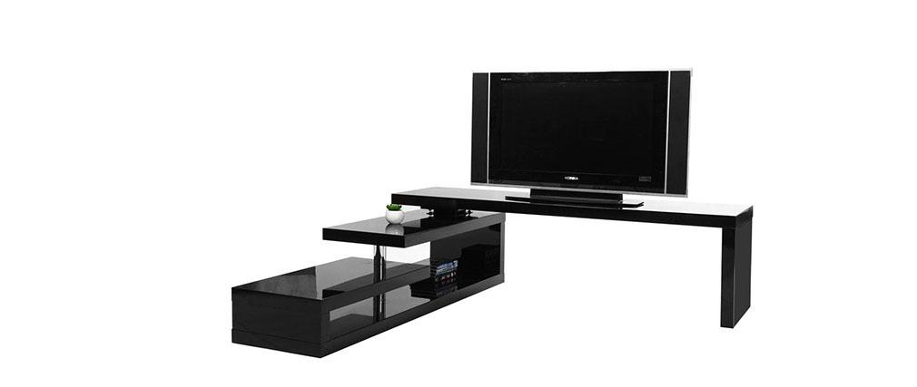 Mueble TV de diseño lacado negro giratorio MAX V2