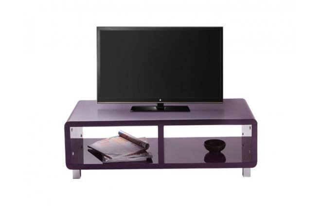 Mueble tv de dise o lacado violeta pixy miliboo for Mueble compacto tv