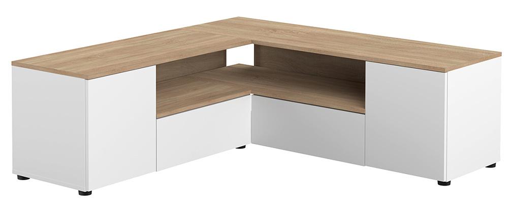 Mueble TV de esquina blnaco mate y madera QUADRA