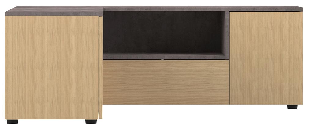 Mueble TV de esquina moderno madero y gris imitación cemento QUADRA