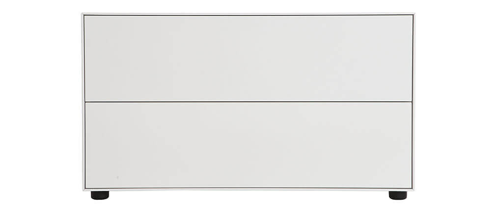 Mueble TV diseño blanco mate 90x40cm 2 cajones MARK