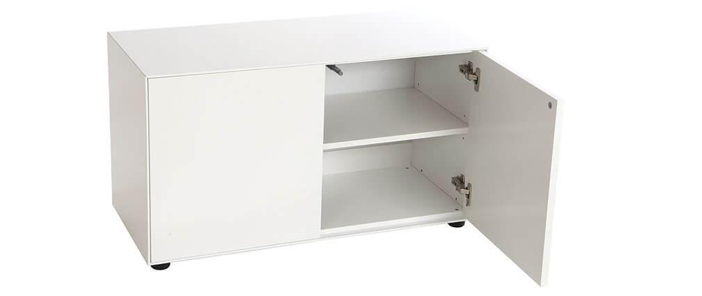 Mueble TV diseño blanco mate 90x40cm 2 puertas MARK