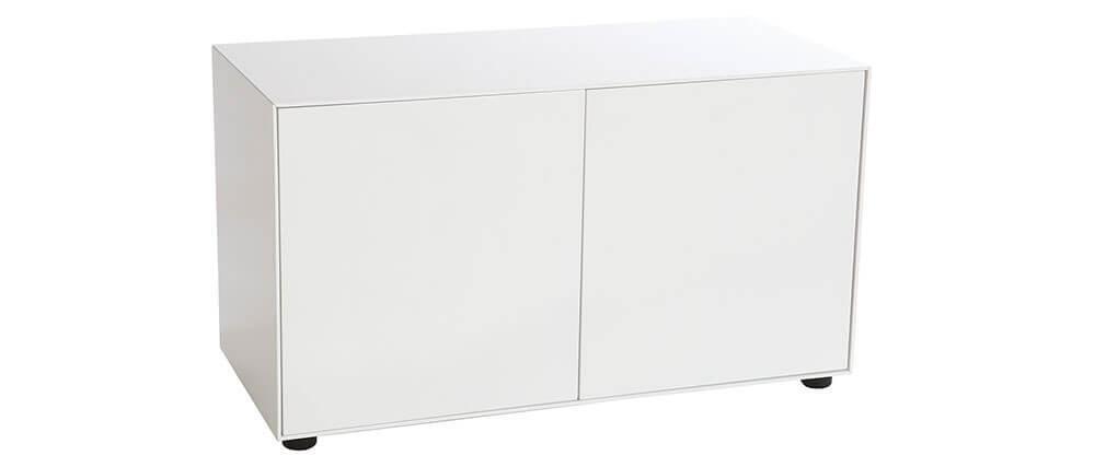 Mueble TV diseño blanco mate L90 cm 2 puertas MARK
