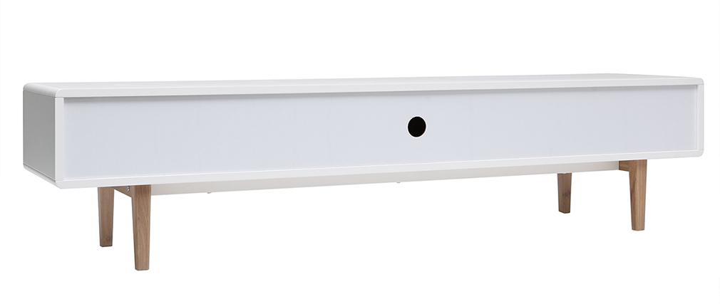 Mueble TV diseño contemporáneo blanco y madera ROMY