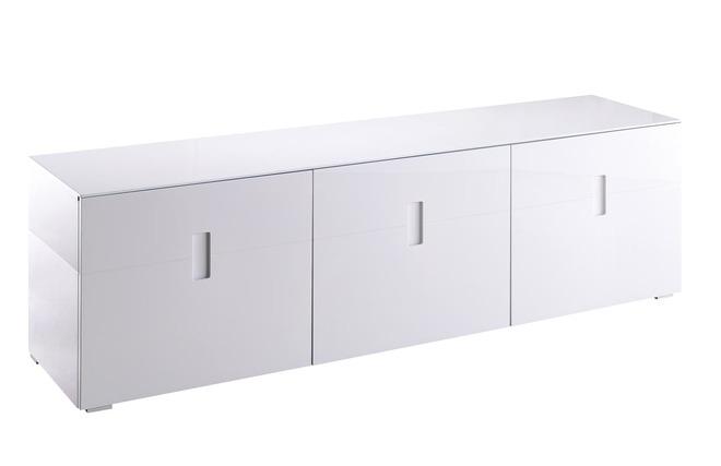 Mueble tv dise o lacado blanco 3 puertas ted miliboo for Mueble tv lacado blanco
