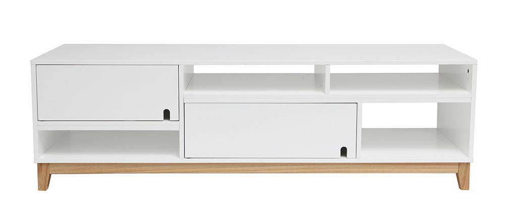 Mueble tv dise o lacado blanco mate y madera skal miliboo - Mueble lacado blanco ...