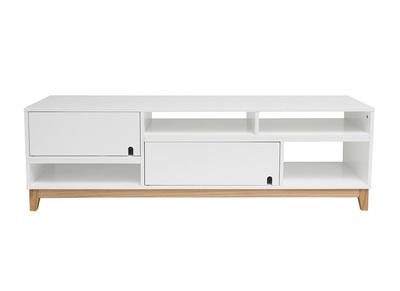 Rebajas mesas tv miliboo miliboo for Mueble tv lacado blanco