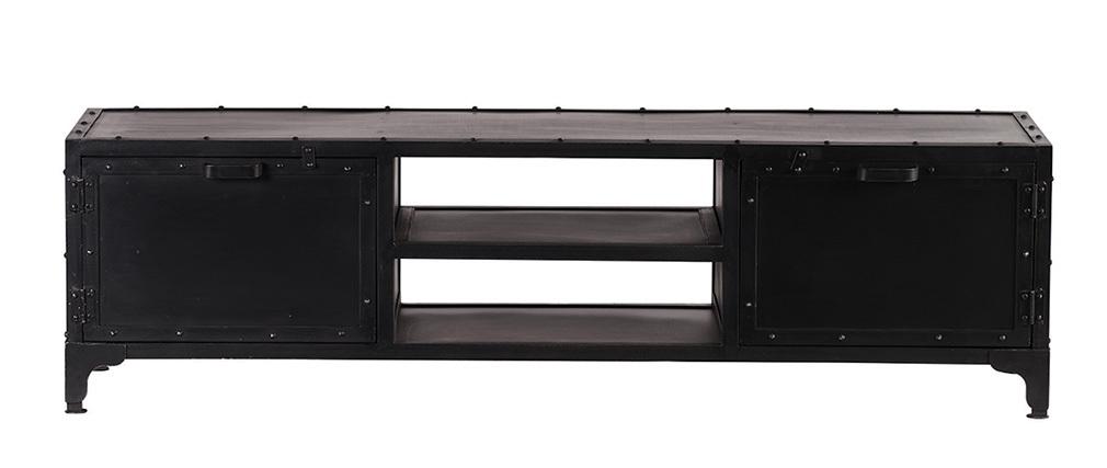 Mueble TV diseño metal negro 150cm FACTORY