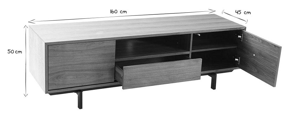 Mueble TV diseño vintage 160cm nogal MANNY