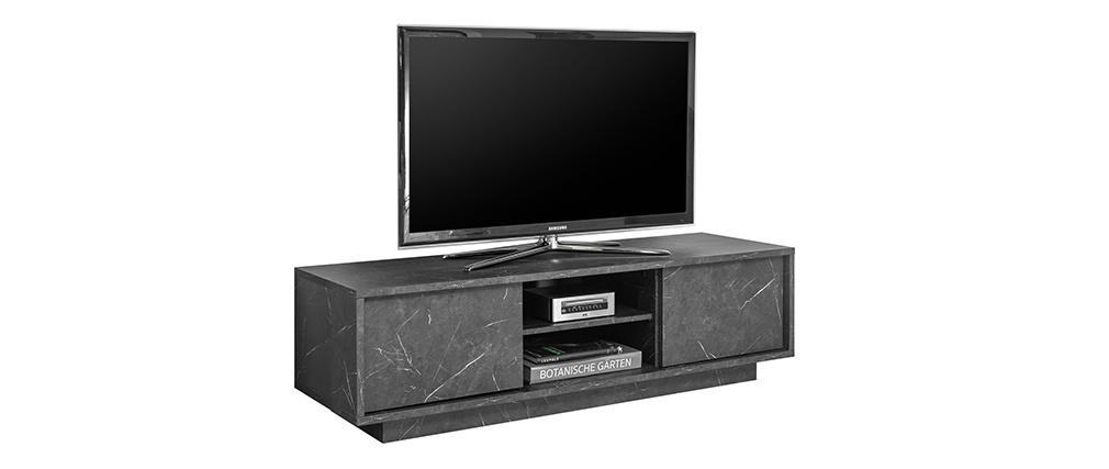 Mueble TV efecto mármol negro L138 cm CARRA