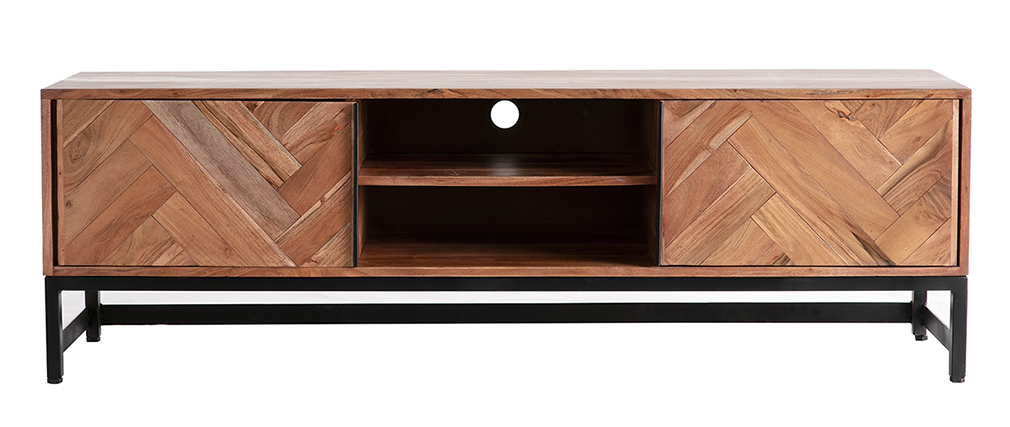 Mueble TV en acacia y metal negro STICK