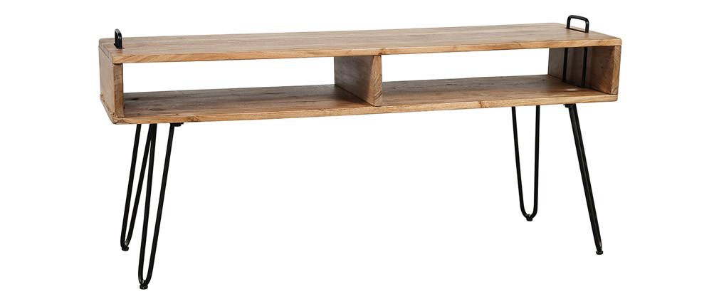 Mueble TV en madera de acacia y metal negro ALVIN