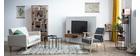 Mueble TV en madera de acacia y metal negro PINA