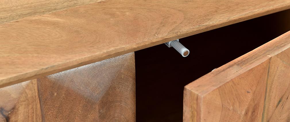 Mueble TV en mango macizo con puertas en relieve L120 cm AGRA