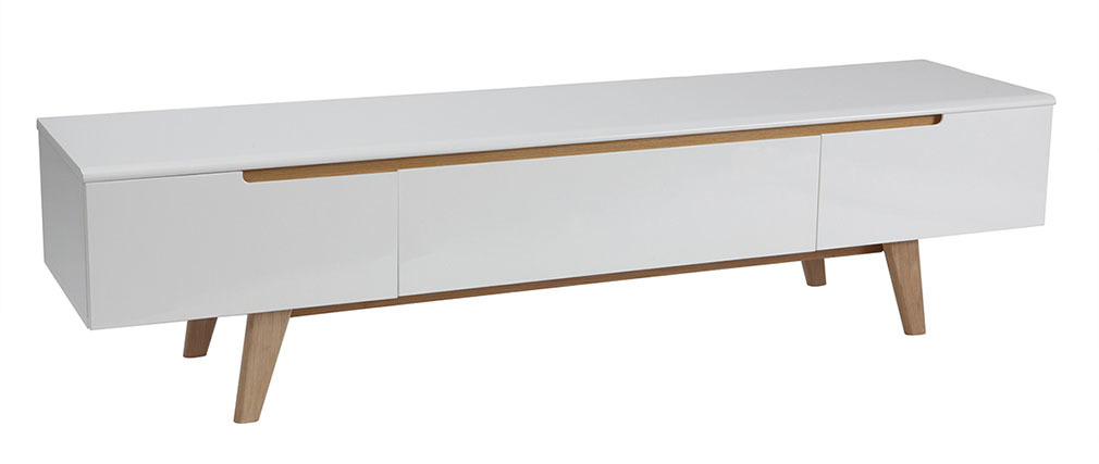 Mueble TV escandinavo blanco brillante y fresno 180cm MELKA