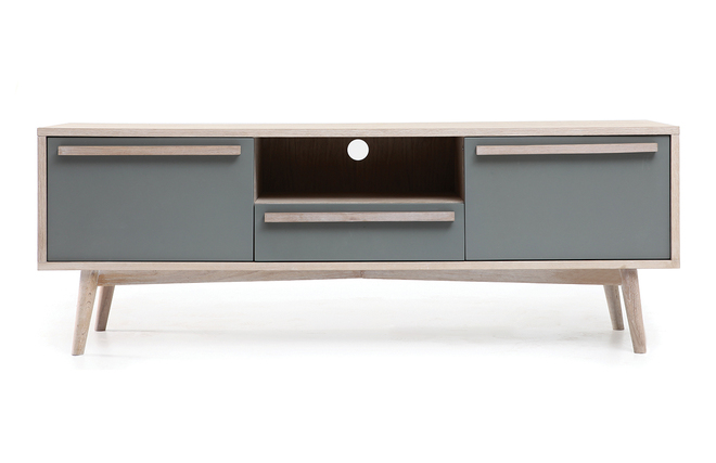 Mueble tv escandinavo roble blanco y gris mate narvik zoom for Mueble blanco y roble