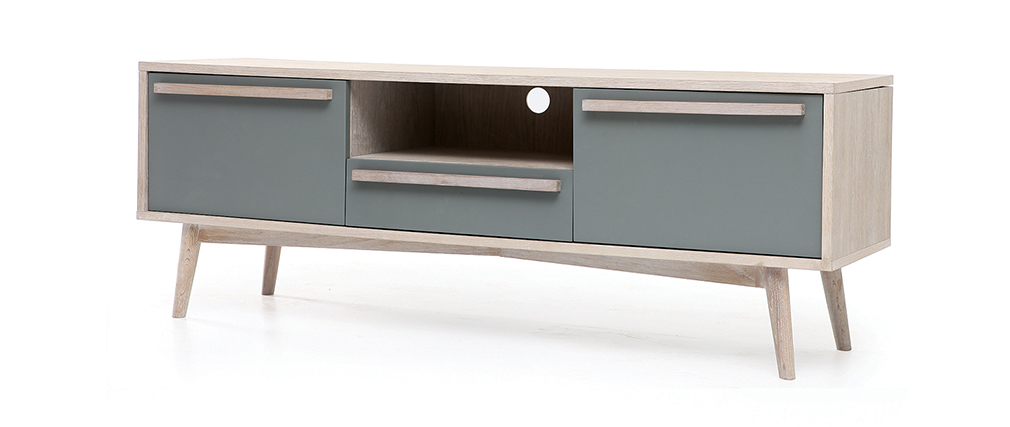 Mueble TV escandinavo roble blanco y gris mate NARVIK, ficha técnica