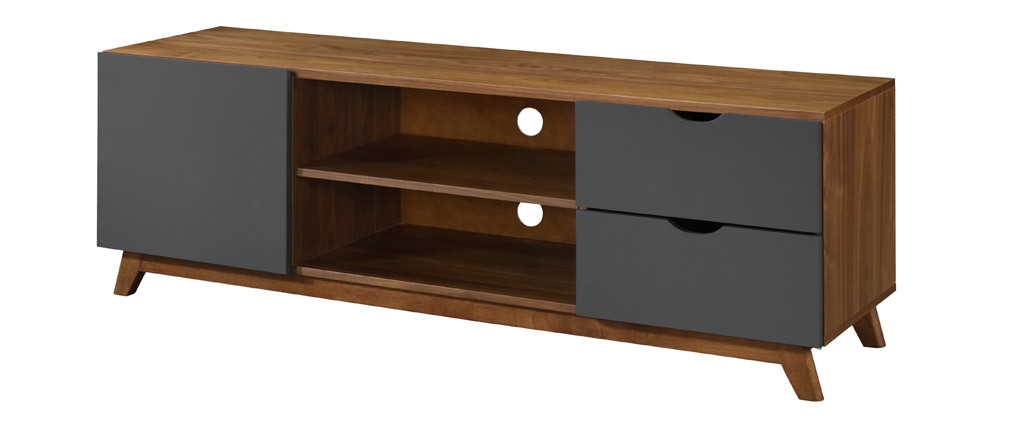 Mueble TV gris antracita y nogal NEELA