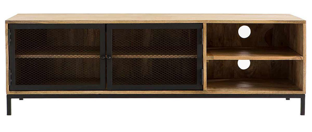 Mueble TV industrial en mango y metal perforado RACK