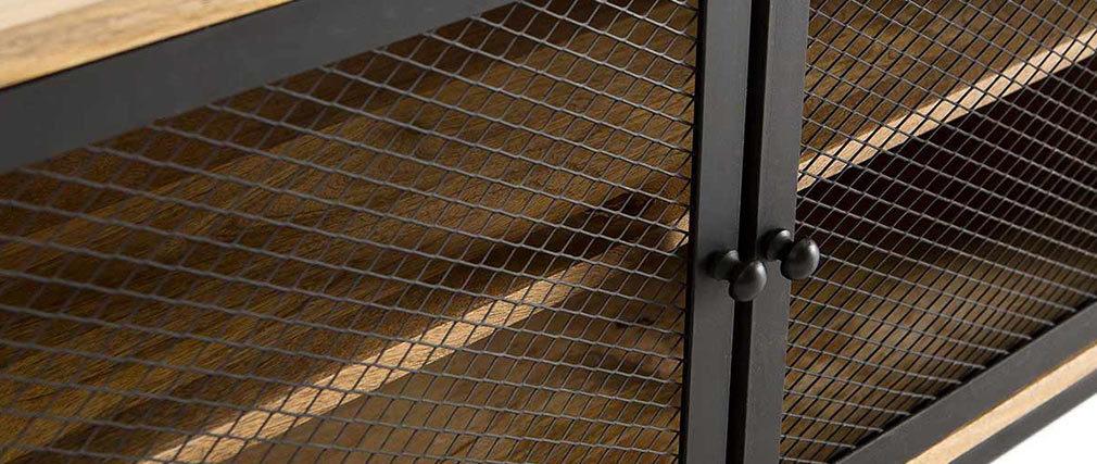 Mueble TV industrial en mango y metal perforado RACK