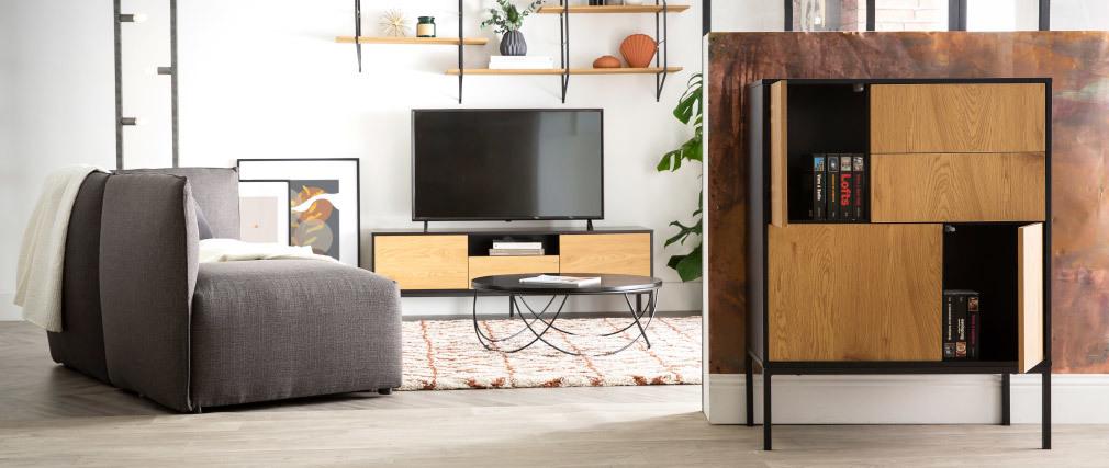 Mueble TV industrial madera y metal L140 cm TRESCA