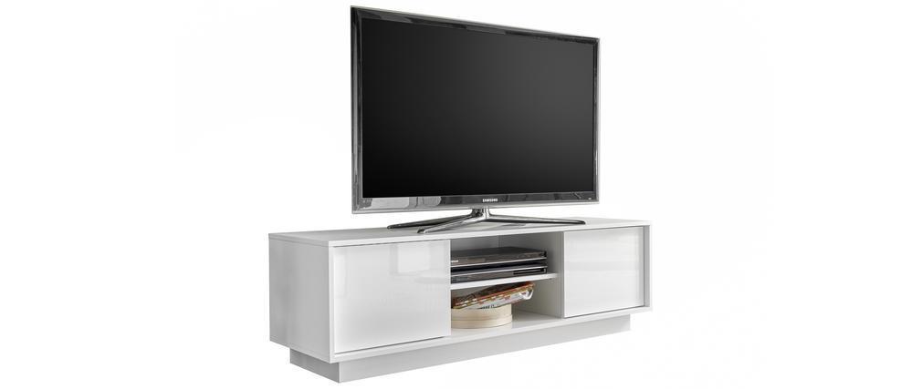 Mueble TV L138 cm blanco lacado brillante COMO