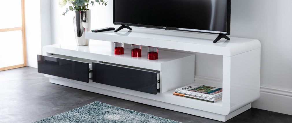 Mueble TV lacado blanco con cajones grises ETANA