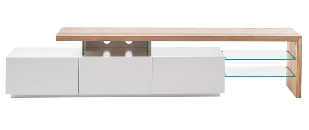 Mueble TV lacado blanco tablero roble 204 cm MEDIA