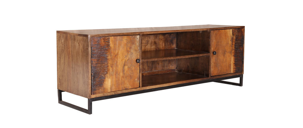 Mueble tv madera reciclada madras miliboo - Muebles de tv conforama ...