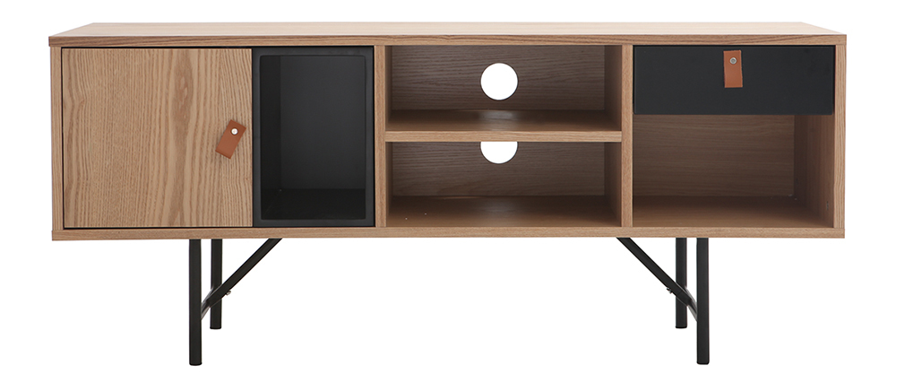 Mueble TV madera roble y negro OFICI