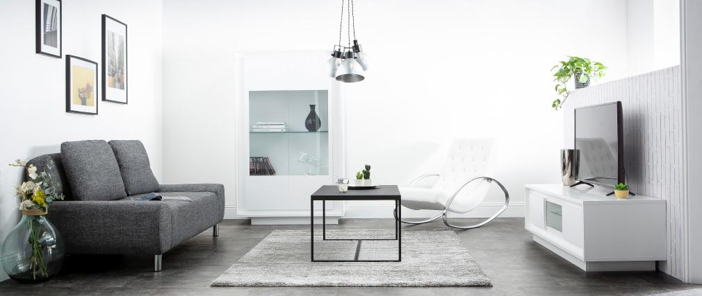 Mueble TV moderno blanco con almacenaje decoración cemento LAND