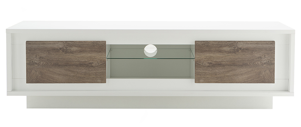 Mueble TV moderno blanco con almacenaje decoración madera oscura LAND