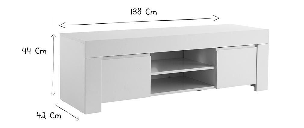 Mueble TV moderno blanco mate L138 cm TINO