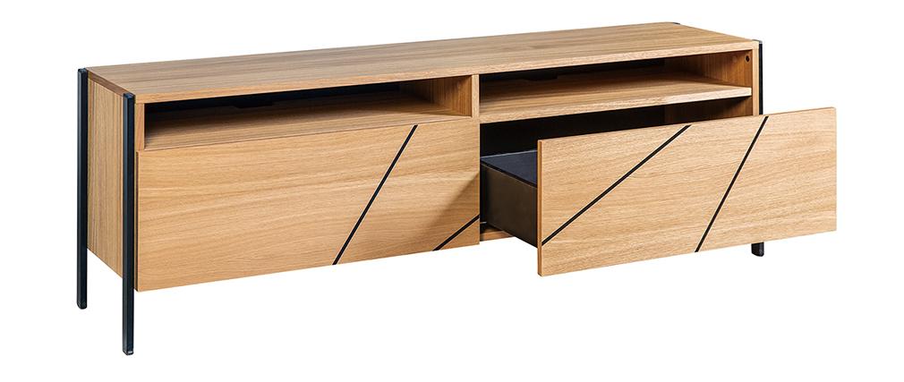 Mueble TV moderno con motivo geométrico roble y metal negro L175 cm ICODE