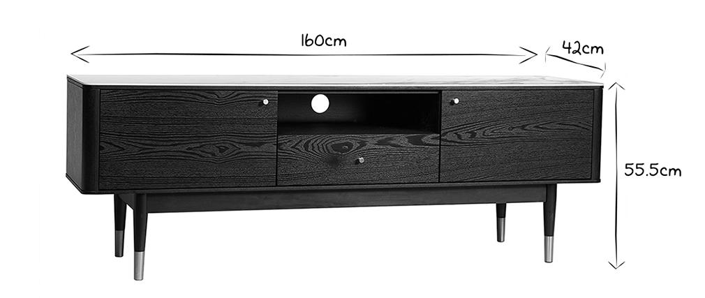 Mueble TV moderno efecto mármol y patas doradas ALLURE