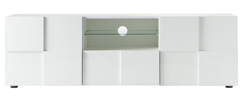 Mueble TV moderno lacado blanco 180cm KUBE