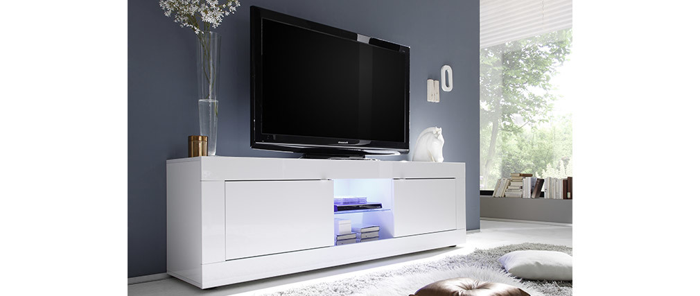 Mueble TV moderno lacado blanco 180cm LATTE