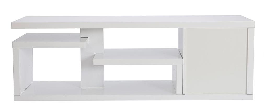 Mueble TV moderno lacado blanco brillante L150 cm HALTON
